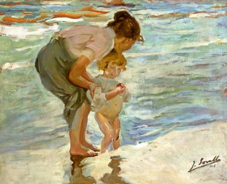 Mother and Child on the Beach - Joaquin Sorolla