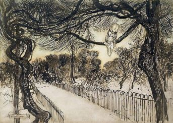 Peter Pan on a Branch, Arthur Rackham, 1906-1912