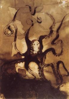 Victor Hugo, Pieuvre avec les initales V.H., 1866